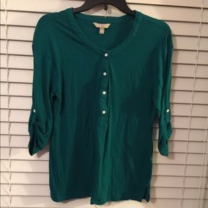 Banana Republic Green Button T-Shirt
